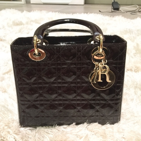 92784a1202 Dior Bags | Christian Lady Medium Patent Leather | Poshmark